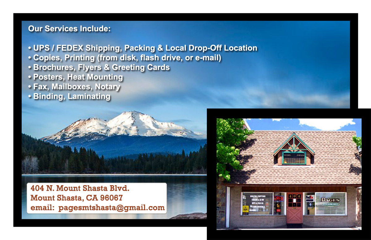 Pages of Mount Shasta - Copies, Shipping, Mailboxes